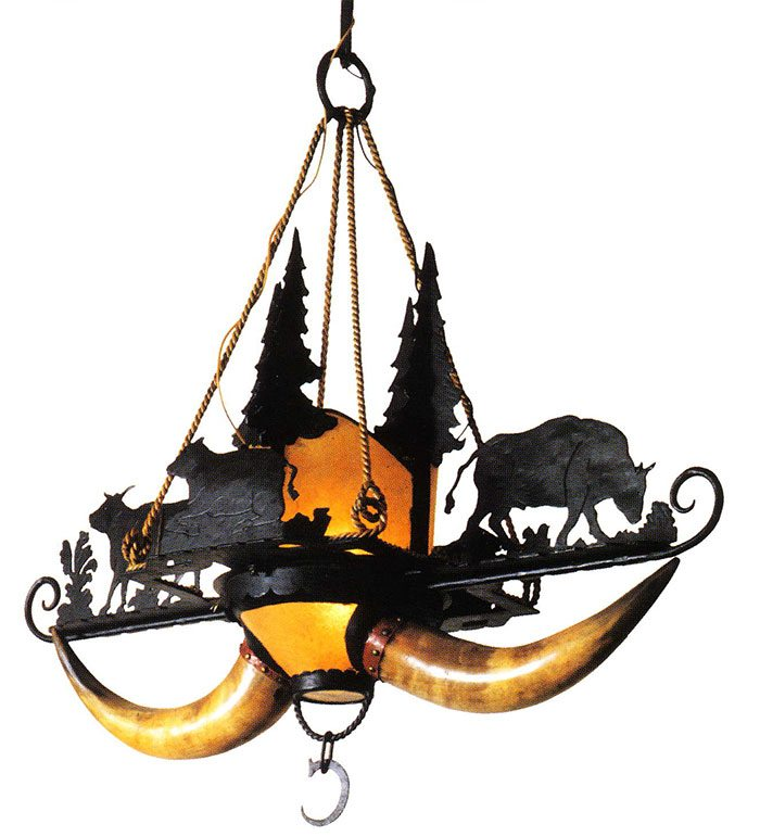 Chandelier, steer horns. Wrought iron, horn, and rawhide, this lamp incorporates silhouettes of grazing cattle and pine trees. Courtesy Robert D. Coe II