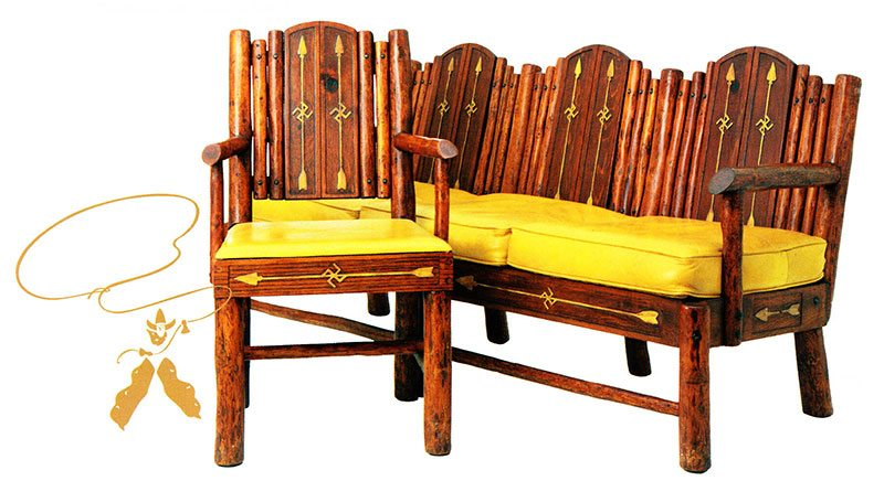 Swastika settee and chair. The set utilized plain and straightforward construction. The central slats and face rails are of routed hardwood selectively stained to enhance the Native American Design. Courtesy the Paul Stock Foundation, Cody, Wyoming