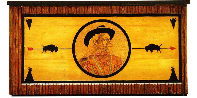 Buffalo Bill bar. These two pieces were originally commissioned as service counters. They feature the routed images of Cody's namesake, Buffalo Bill, and an Indian chieftan.