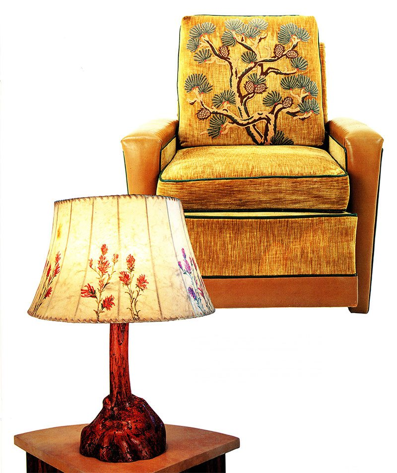 Slabsided armchair, fabric-covered with pine bough motif. Courtesy Paul Stock Foundation. Characteristic burl lamp includes a commercially produced rawhide shade painted by Molesworth with an Indian paintbrush design. Courtesy Robert D. Coe II