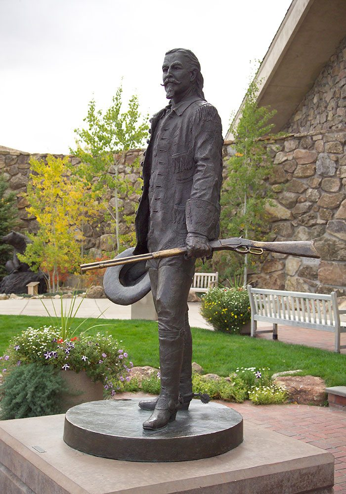 "Bob Scriver (1914-1999), ""Buffalo Bill-Plainsman,"" 1976, cast by Modern Art Foundry, N.Y. Bronze, 86.5 x 62 x 50.25 inches. 12.77."