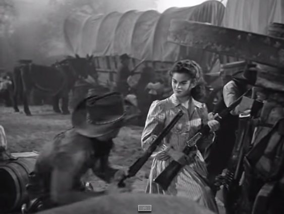 Montgomery Clift as Matt Garth and  Joanne Dru as Tess Millay from Red River (1948). Directed by Howard Hawks: MGM. Screenshot taken by Leah Madsen