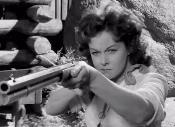 Susan Hayward as Vinnie Holt. Screenshot taken by Leah Madsen. Rawhide (1951).  Directed by Henry Hathaway.: 20th Century Fox,.