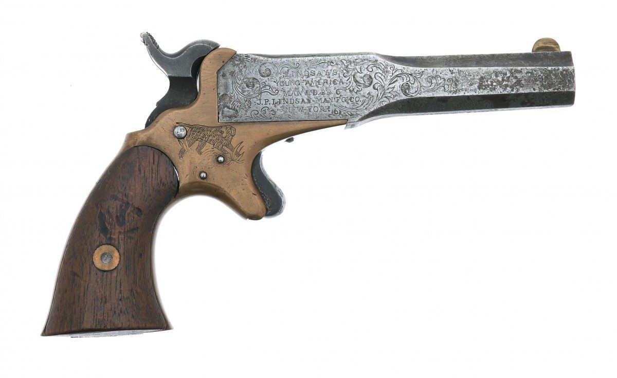 The Lindsay Two-Shot Young American Pocket Pistol. .41 caliber. Gift of Olin Corporation, Winchester Arms Collection. 1988.8.3254
