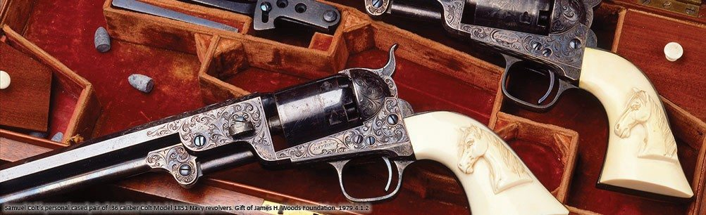Samuel Colt's personal cased pair of .36 caliber Colt Model 1851 Navy revolvers. Gift of James H. Woods Foundation. 1979.4.1.2