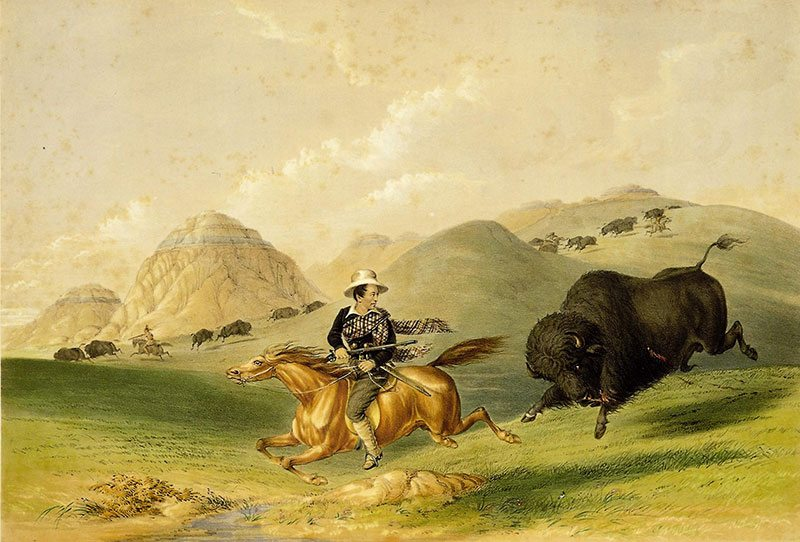 """George Catlin (1796-1872). """"Buffalo Hunt, Chasing Back,"""" 1844. Hand-colored lithograph, 17 3/4 x 13 in. Gift of Mrs. Sydney T. Miller. 21.74.12"""