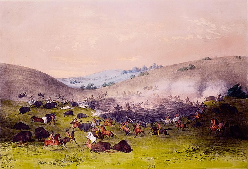 """George Catlin (1796-1872). """"Buffalo Hunt, Surrounding the Herd,"""" mid-nineteenth century. Chromolithograph on paper, 13 1/2 x 17 5/8 in. William J. Holcombe. 9.94.1"""
