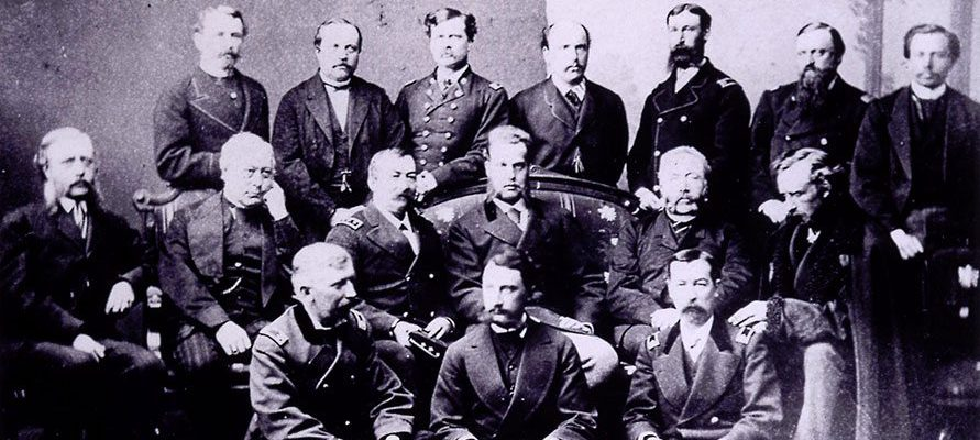 The Royal Hunting Party, 1872, included notables General Phil Sheridan (third from left, middle row), Grand Duke Alexis to Sheridan's left, General G.A. Custer (end of middle row), and Colonel M.V. Sheridan,(front row, right). Photo was taken by J. Lee Knight at Topeka, Kansas, and is believed to be the only one captured of the group. Vincent Mercaldo Collection. P.71.552