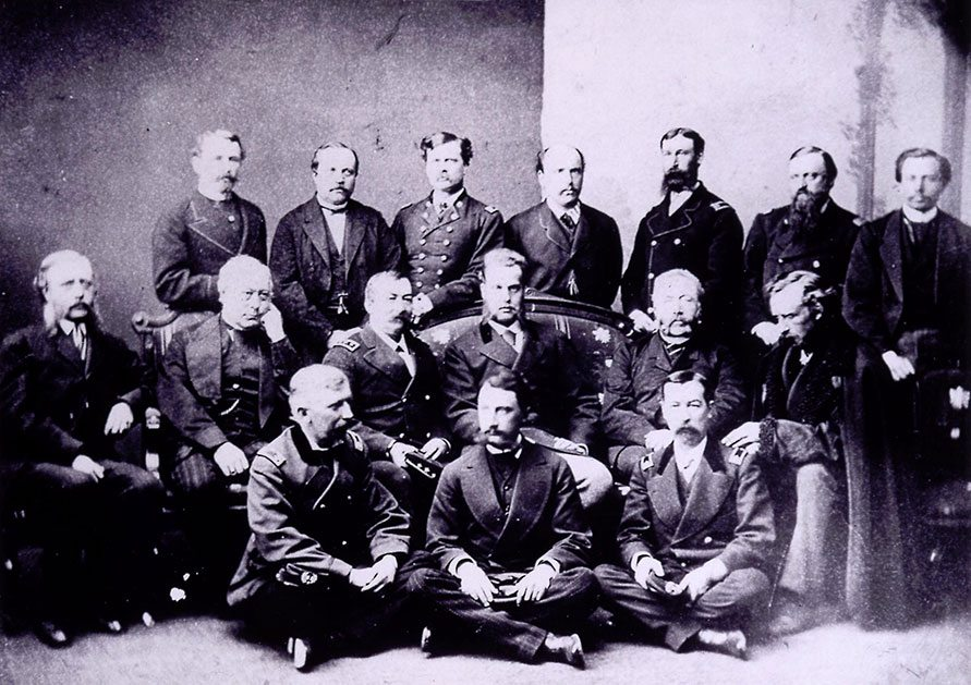 The Royal Hunting Party, 1872, included notables General Phil Sheridan (third from left, middle row), Grand Duke Alexis to Sheridan's left, General G.A. Custer (end of middle row), and Colonel M.V. Sheridan, (front row, right). Photo was taken by J. Lee Knight at Topeka, Kansas, and is believed to be the only one captured of the group. Vincent Mercaldo Collection. P.71.552