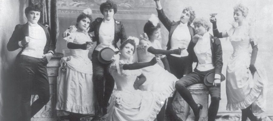 The cast of the Black Crook. The first American musical company to follow the European practice of using females in male roles. Library of Congress Prints and Photographs Division. LC-USZ62-55572
