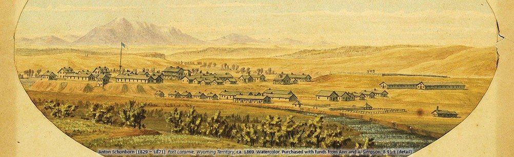 """Anton Schonborn's """"Fort Laramie,"""" ca. 1869. 8.91.1"""
