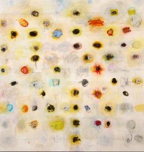 American Fork #4, 2010-2011. Oil, oil pastel, charcoal, graphite, Buckskin. 83.5 x 79.25 in. Collection of the Buffalo Bill Center of the West; Anonymous Gift, 4.14.