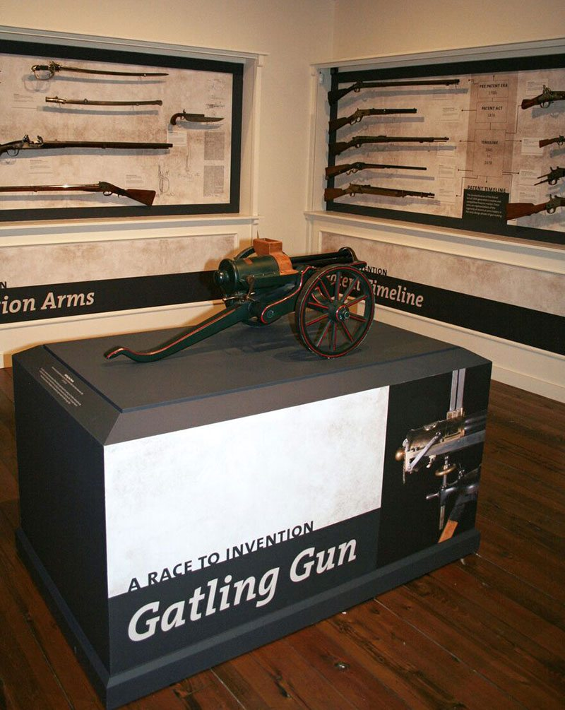 "Gatling gun patent model has center stage in reopened ""Journeying West"" exhibit."