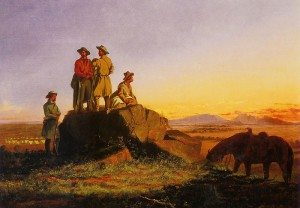 "Stanley's ""Scouts in the Tetons,"" ca. 1855. Oil on canvas. Gift of the Thomas Gilcrease Foundation, 1955. Gilcrease Museum, Tulsa, Oklahoma. (0126.1143) L.394.2015.1"