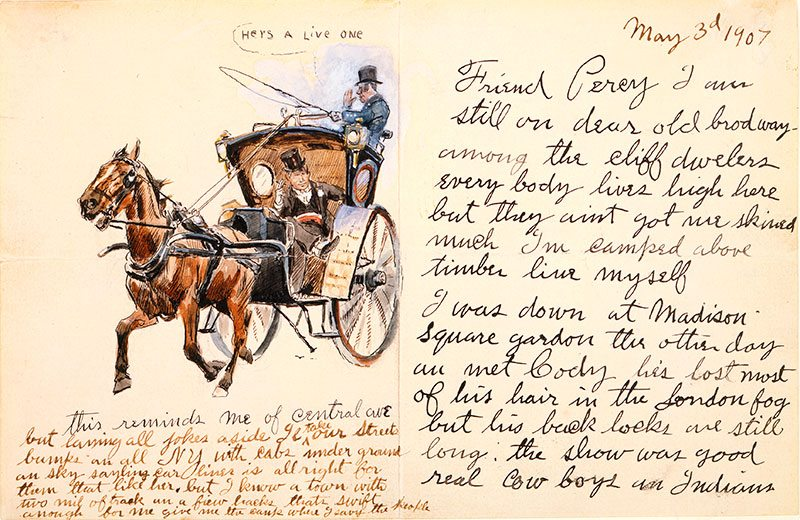 Friend Percy, May 3, 1907. Pen and ink and watercolor on paper, 6.25 x 9.686 inches. Gift of William E. Weiss. 69.60