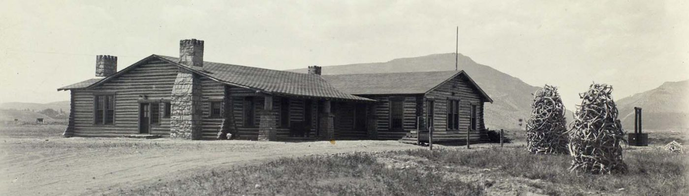 The Buffalo Bill Museum in Cody, soon after its 1927 completion. Log cabins served as icons of American energy and self reliance. F.J. Hiscock, Photographer. Mary Jester Allen Collection. P.41.502