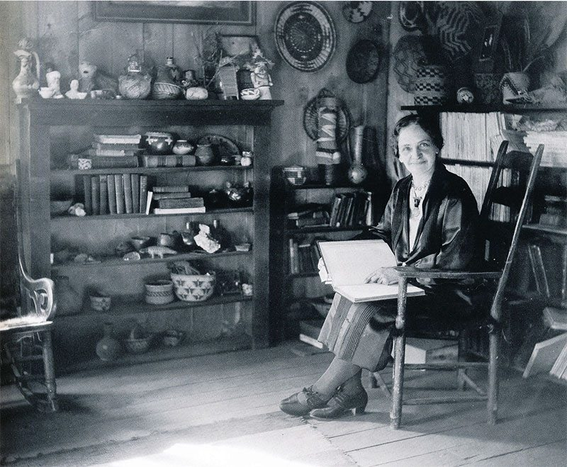 Sharlot Hall in the new museum, about 1930. The passion and drive of women such as Miss Hall and Mrs. Allen did much to preserve culture and history in the West. Sharlot Hall Museum Photo, Prescott, Arizona. PO-142-pf