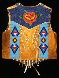 Vest (back), Debra Lee Stone Jay, Shoshone Bannock, Fort Hall, Idaho, 2002. Tanned and smoked hide, glass beads. Plains Indian Museum Acquisition Fund Purchase. NA.202.1008