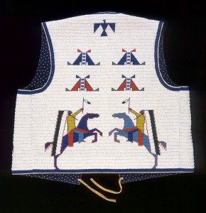 Man's Vest (back), Marcus Dewey, Northern Arapaho, Fort Collins, Colorado, 2003. Tanned hide, glass beads, and cotton cloth. Plains Indian Museum Acquisitions Fund Purchase. NA.202.1276