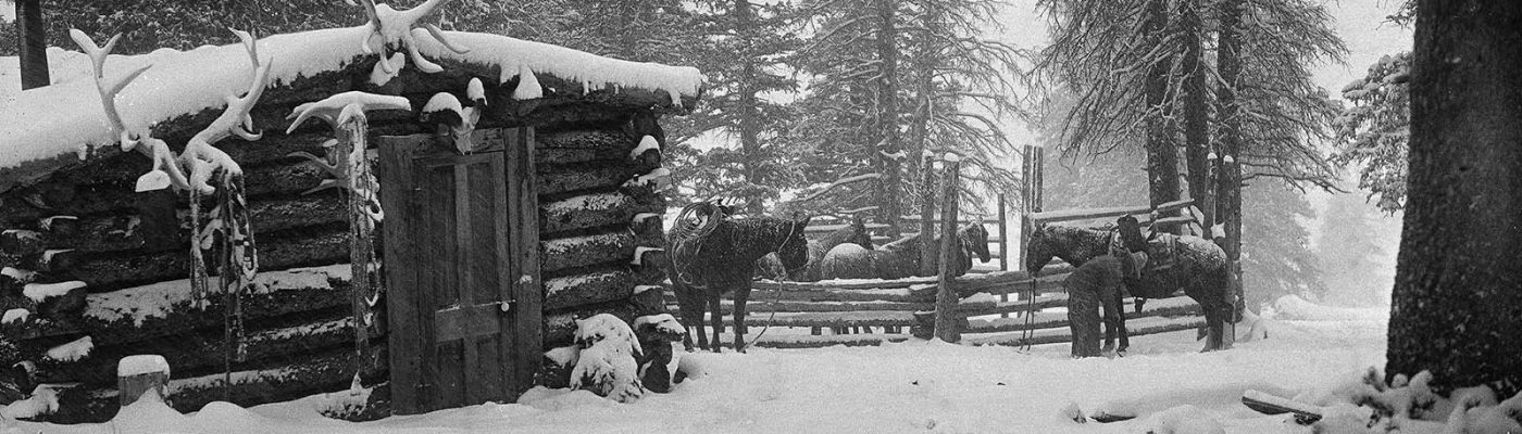 Cabin in winter, cow camp at Jack Creek, c. 1923. Charles Belden photo. MS 3 Charles Belden Collection. PN.67.75a (detail)