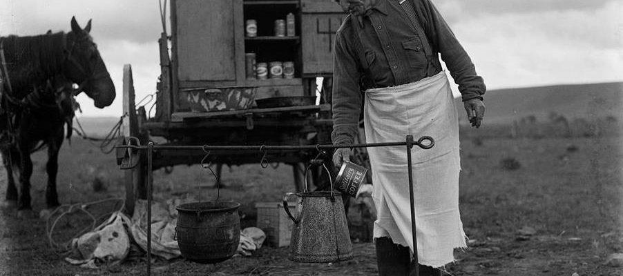 Coffee over a campfire, ca. 1920