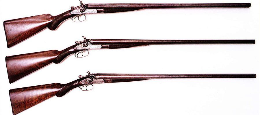 Three examples of Winchester's imported English shotguns, circa 1878 – 1884. From top to bottom: Winchester Club Class double barrel, 12 gauge; Winchester Class C double barrel, 12 gauge; and Winchester Match Class double barrel, 16 gauge.