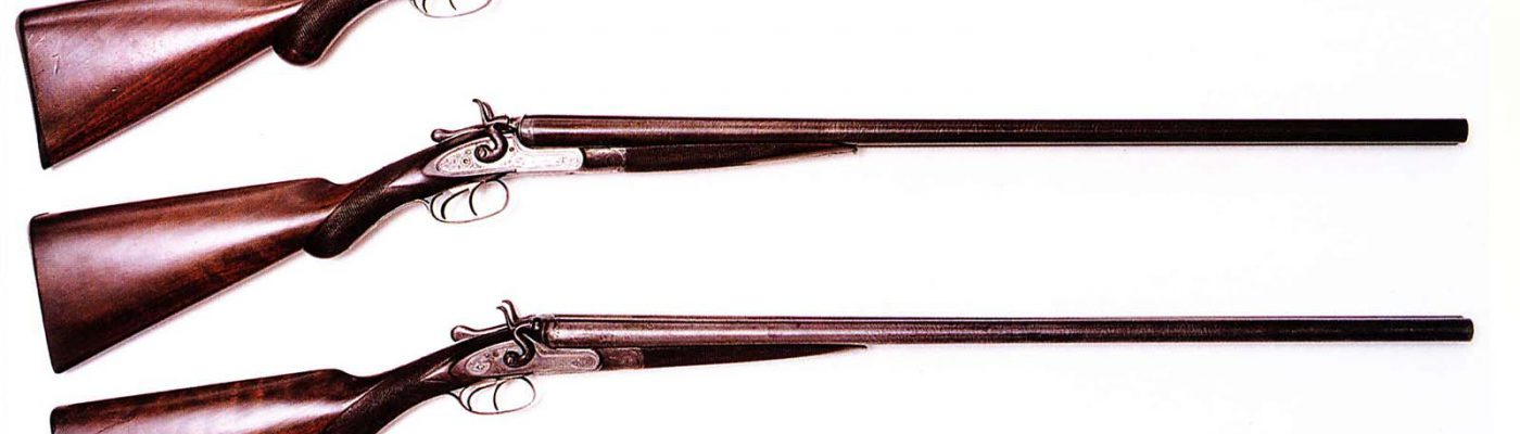 Pictured are three examples of Winchester's imported English shotguns, circa 1878 – 1884. From top to bottom: Winchester Club Class double barrel, 12 gauge; Winchester Class C double barrel, 12 gauge; and Winchester Match Class double barrel, 16 gauge.