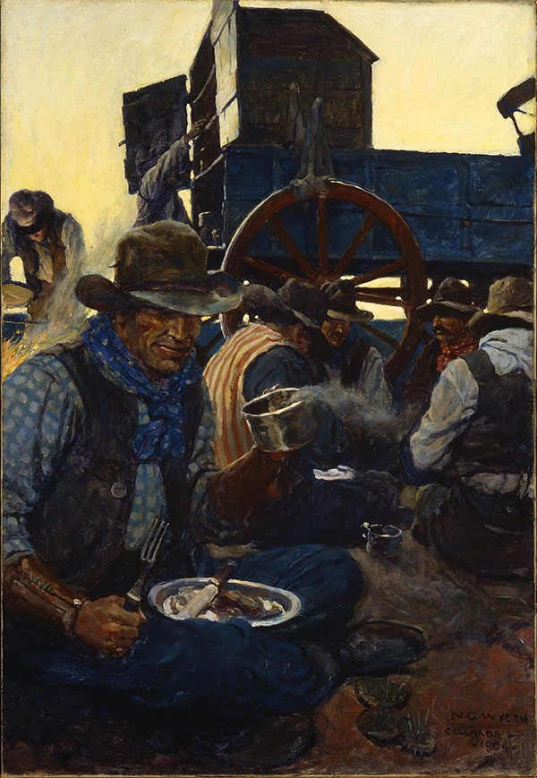 """Cowboys on the range knew all the top outfits - especially those with the best food. N.C. Wyeth (1882-1945), """"The Lee of the Grub-Wagon,"""" 1904-1905, oil on canvas. Gift of John M. Schiff. 46.83"""