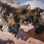 """William R. Leigh (1866 – 1955). """"Buffalo Drive,"""" 1947. Oil on canvas, 77.62 x 125.5 in. Acquired with donations from the Whitney Purchase Fund, William F. Davidson, The Coe Foundation and Corliss C. and Audrienne H. Moseley. 13.69"""