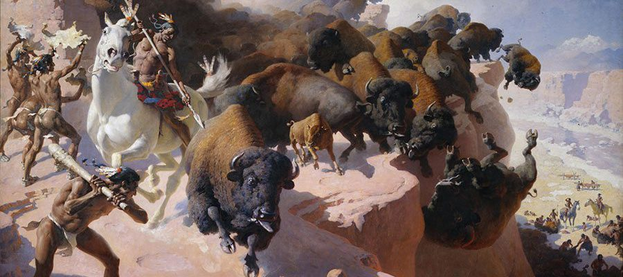 "William R. Leigh (1866 – 1955). ""Buffalo Drive,"" 1947. Oil on canvas, 77.62 x 125.5 in. Acquired with donations from the Whitney Purchase Fund, William F. Davidson, The Coe Foundation and Corliss C. and Audrienne H. Moseley. 13.69"