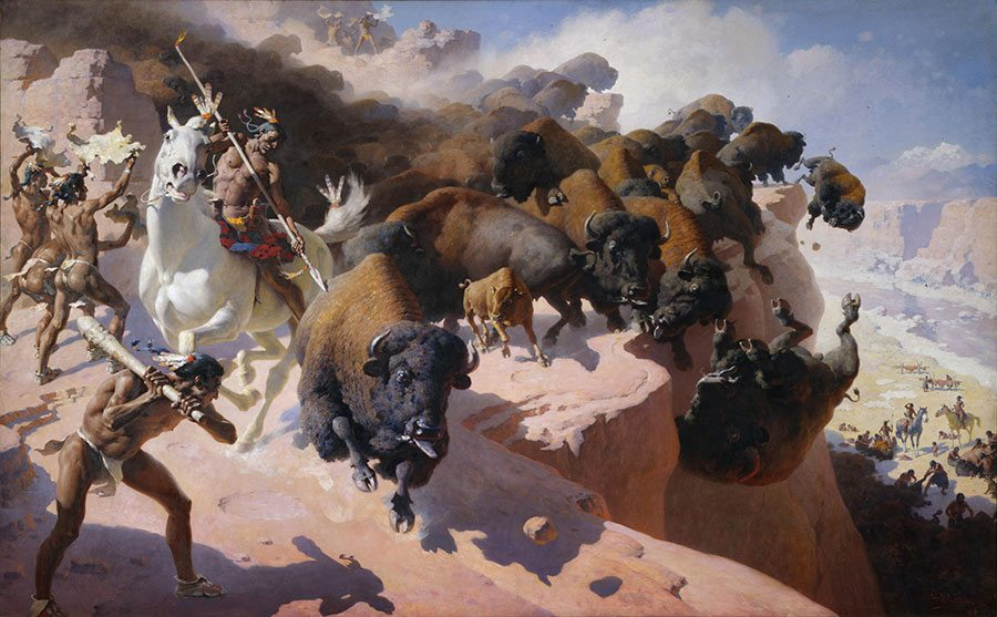 """William R. Leigh (1866-1955). """"Buffalo Drive,"""" 1947. Oil on canvas, 77.62 x 125.5 in. Acquired with donations from the Whitney Purchase Fund, William F. Davidson, The Coe Foundation and Corliss C. and Audrienne H. Moseley. 13.69"""