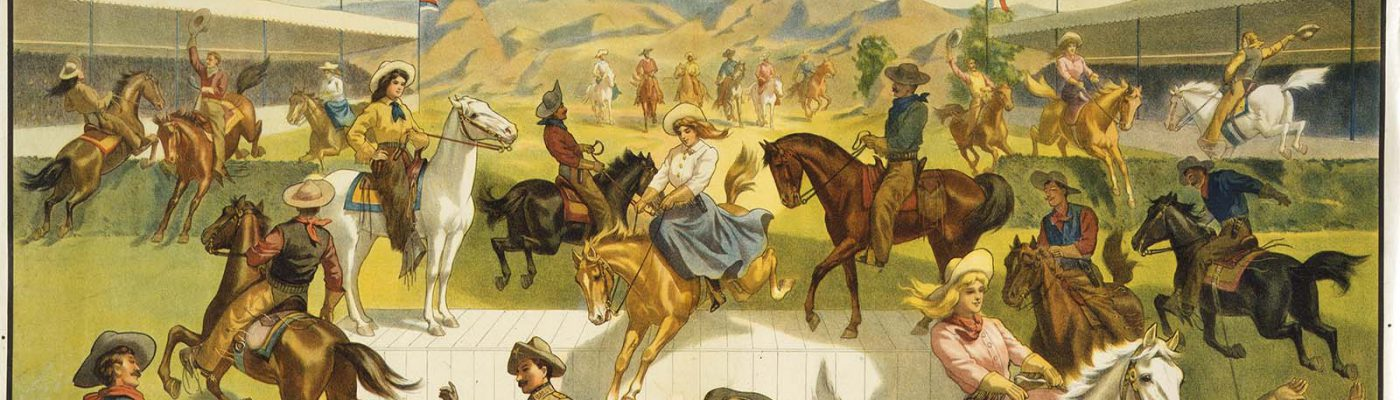 Trick riding was always a big part of the Wild West. Four-color lithograph, ca. 1907. The Strobridge Litho Co., Cincinnati, OH, and New York, NY. 1.69.2701 (detail)