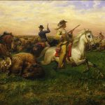 Louis Maurer (1832 – 1932). The Great Royal Buffalo Hunt, 1894. Oil on canvas, 34 1/8 x 54 in. Gift of Mr. and Mrs. Ernest J. Goppert. 7.66