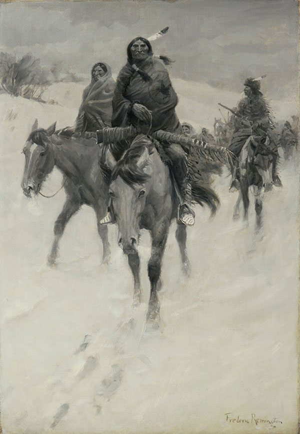 """Illustration 1: Since 1965, this was the Glenbow Museum's only Frederic Remington painting, """"Warriors' Return."""" Collection of Glenbow Museum. 65.23.7."""