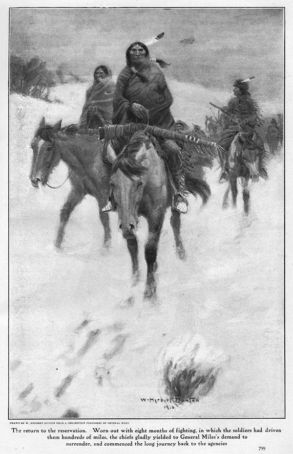 """Illustration 7: From General Nelson A. Miles, """"My First Fights on the Plains,"""" """"Cosmopolitan Magazine,"""" May 1911, p. 799. This necessitated a change in credit line for the Glenbow's """"Remington."""" It became: William Herbert Dunton (1878-1936), """"The Return to the Reservation,"""" 1910, oil on canvas, 28.98 x 20 inches. Collection of Glenbow Museum. 65.23. 7. Previously known as """"Warriors' Return."""""""