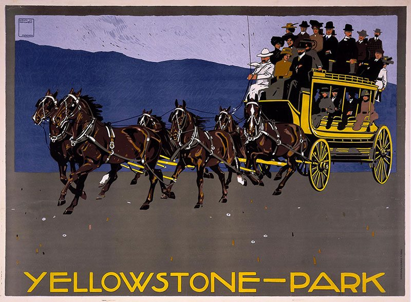 """Yellowstone—Park,"" ca. 1910. Artist: Ludwig Hohlwein, printer: G. Schuh & Cie. Four colored serigraph poster, 47.625 x 34 inches. Gift of Clyde S. Erskine and Helen E. Erskine. 1.69.1836"