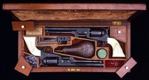 This cased pair of Colt Model 1851 Navy revolvers belonged to Samuel Colt. Gift of James R. Woods Foundation. 1979.4.1.1