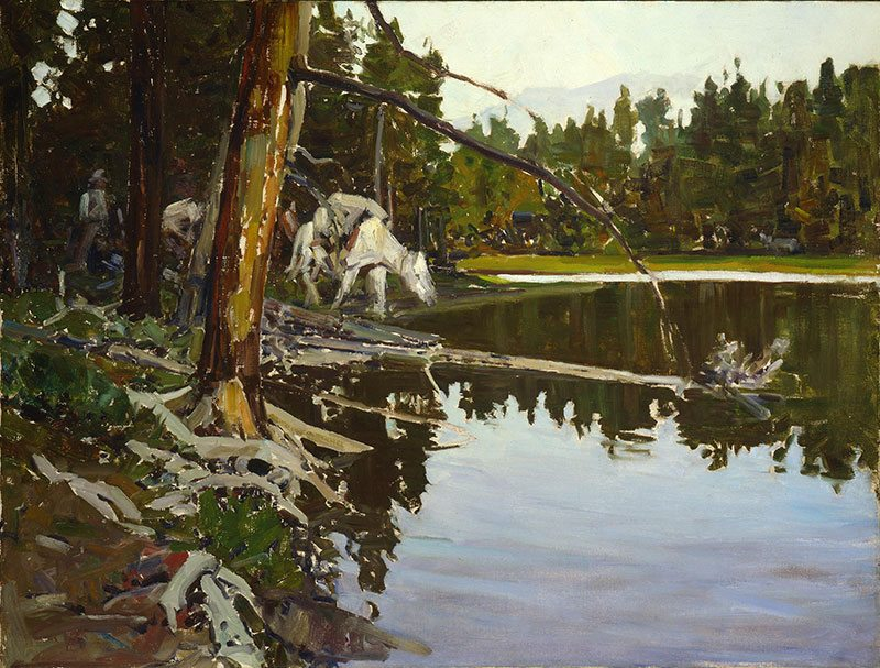 "Frank Tenney Johnson (1874 – 1939). ""Cove in Yellowstone Park,"" 1938. Oil on canvas, 30 x 40 inches. Gift of Fred and Sara Machetanz. 2.82"