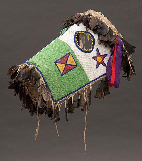 Fully-beaded horse mask. Blackfoot-Kainai, Canada, ca. 1870. Paul Dyck Plains Indian Buffalo Culture Collection. NA.403.221
