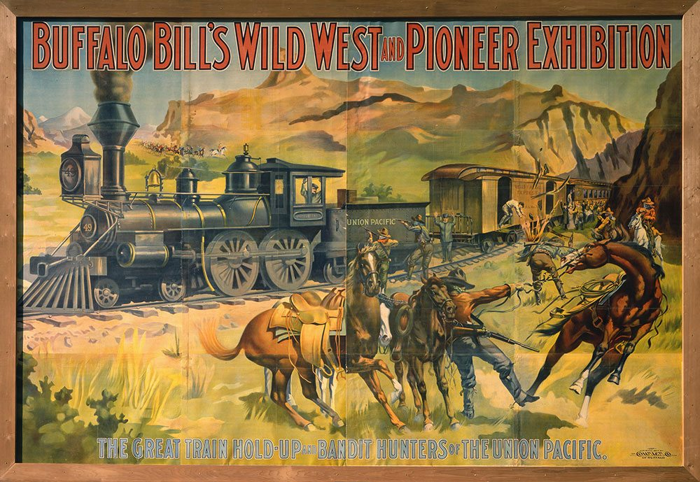 The New York Times reported that the citizens of Paterson, New Jersey, found this Wild West poster of outlaws attacking a train too graphic. Buffalo Bill's Wild West and Pioneer Exhibition, 1907. Poster, 108 x 159.5 inches. Courier Company lithograph, Buffalo, New York. Original Buffalo Bill Museum Collection. 1.69.540