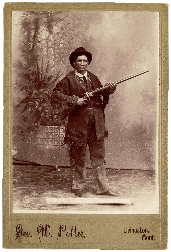 "Cabinet photograph of Martha Jane ""Calamity Jane"" Cannary, ca. 1896. George W. Potter, Livingston, Montana. P.69.2177"