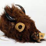Buffalo mask. Numakiki (Mandan), North Dakota, ca. 1860. Buffalo hide, horns, rawhide, wood. Chandler-Pohrt Collection. NA.203.359