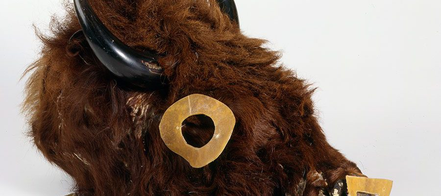 Buffalo mask. Numakiki (Mandan), North Dakota, ca. 1860. Buffalo hide, horns, rawhide, wood. Chandler-Pohrt Collection. NA.203.359