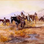 """Charles Marion Russell (1864 – 1926). """"Dangerous Ground,"""" 1902. Watercolor on paper, 10.31 x 14.5 in. Gift of William E. Weiss. 22.70"""