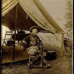 "A Treasure from Our West: Photograph of William F. ""Buffalo Bill"" Cody in front of Wild West tent. P.69.953"