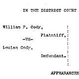 Sheridan County (Wyoming) District Court - Civil Case No. 970, March 1905 - Photocopies of Documents on file with District Court unless otherwise noted.
