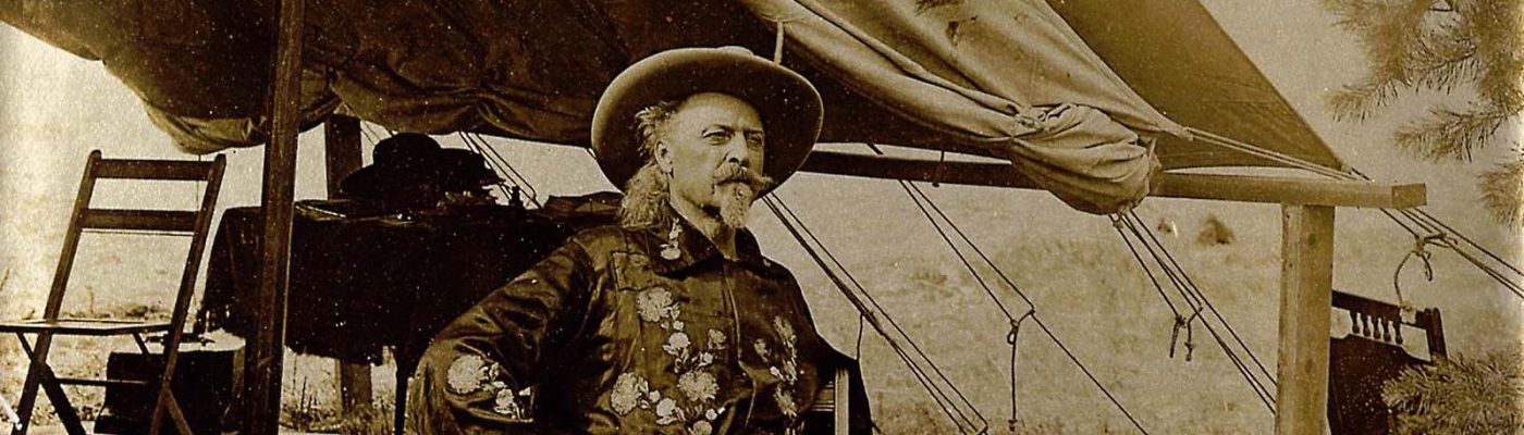 """William F. """"Buffalo Bill"""" Cody is pictured here in front of his personal Wild West tent on a not-so-windy day around 1905. MS 6 William F. Cody Collection, McCracken Research Library. P.69.953"""