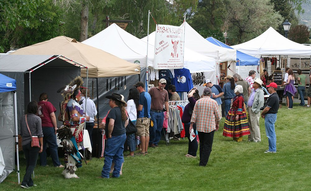 Vendors offer Native art, jewelry, and more for sale at the annual Plains Indian Museum Powwow.