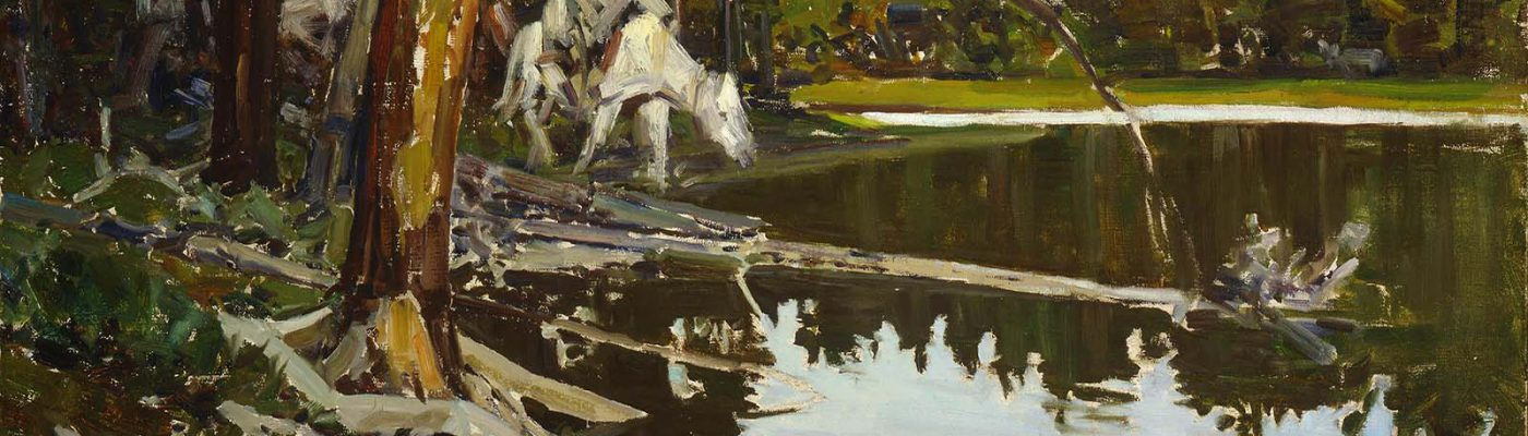 """Frank Tenney Johnson (1874 – 1939). """"Cove in Yellowstone Park,"""" 1938. Oil on canvas, 30 x 40 inches. Gift of Fred and Sara Machetanz. 2.82"""