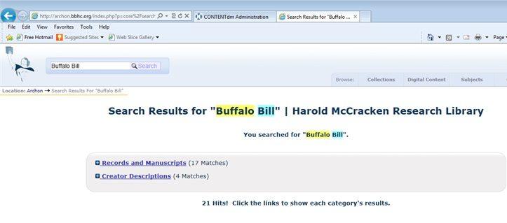 Archon McCracken Home Page-Buffalo Bill Search